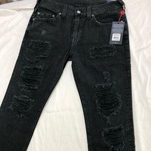 True Religion Mens Skinny Rocco Distressed Jeans
